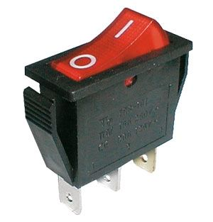 Rocker switch    2pol./3pin  ON-OFF 250V/15A - transparent red