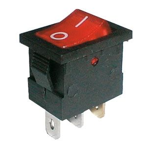 Rocker switch     2pol./3pin  ON-OFF 250V/6A - transparent red