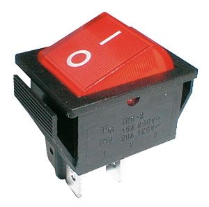 Rocker switch  2pol./4pin  ON-OFF 250V/15A - transparent red