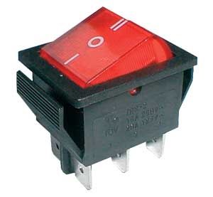 Rocker switch   3pol./6pin  ON-OFF-ON 250V/15A - transparent red