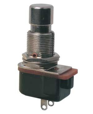 Push-button switch OFF-(ON) 12V (rounded) metal