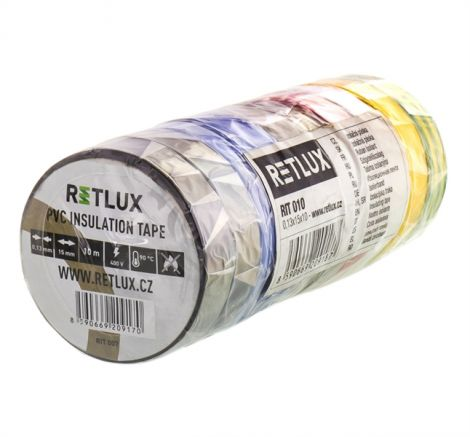 Insulation tape PVC 15 / 10m RETLUX RIT 010 10pcs mix of colors