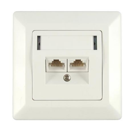 Socket shielded CAT5E, STP, 2x RJ45 concealed SOLARIX SX9-2-5E-STP-WH