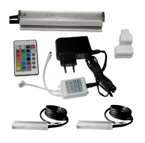Clips LED on glass RGB 2x 10 cm + + panel + adapter + remote control