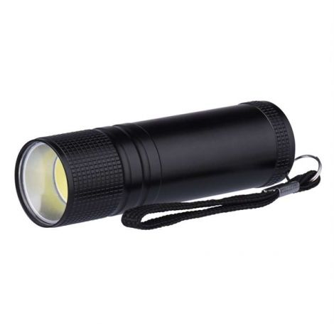 Metal LED Flashlight, 3W COB LED, 3x AAA black