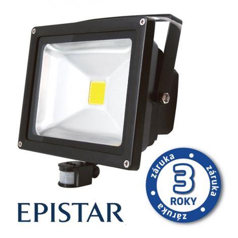 LED outdoor spotlight with PIR 50W / 4000Lm EPISTAR, MCOB, AC 230V, cold, black
