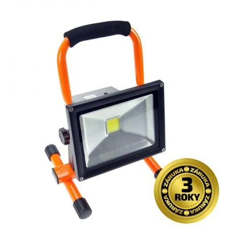 LED reflector 20W, portable, rechargeable, 1600lm, orange-black