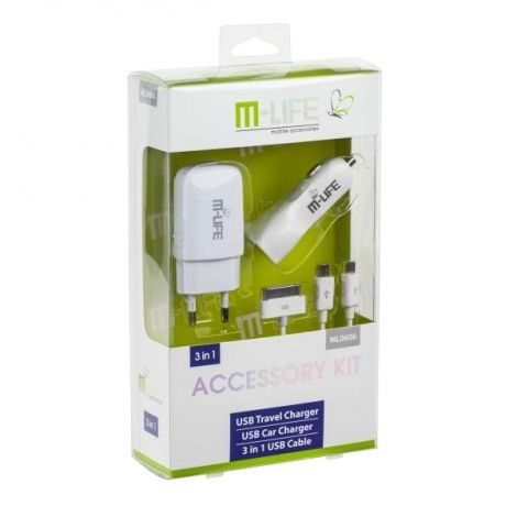 M-LIFE set mains charger USB 1A car charger 2.1A USB cable 3in1