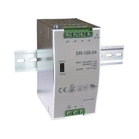 Power supply 24V / 120W switched DR-120 to DIN rail