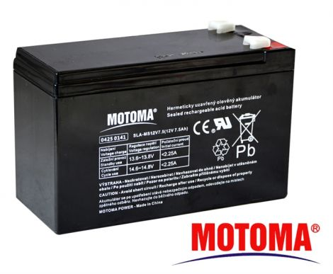 SLA AGM battery  12V/ 7,5Ah  MOTOMA (terminal 6,35 mm)