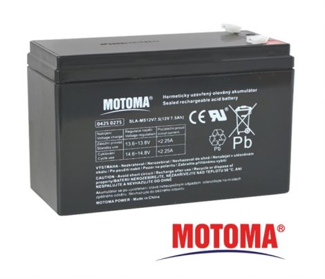 SLA AGM battery  12V/ 7,5Ah  MOTOMA (terminal 4,75 mm)