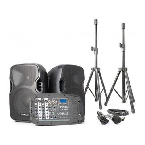 "Speaker system active 2x 10 ""MP3-SD-USB-Bluetooth 300W Vexus PSS-302"