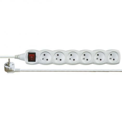 Current Extension cable 1,5m, 6 sockets white + switch