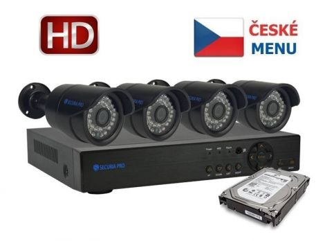 Camera set SECURIA PRO NVR4CHV2/1TB 1080P 4CH DVR + 4x IR CAM + 1TB HDD digital