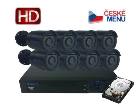 Camera set SECURIA PRO NVR8CHV2/1TB 1080P 8CH DVR + 8x IR CAM + 1TB HDD digital