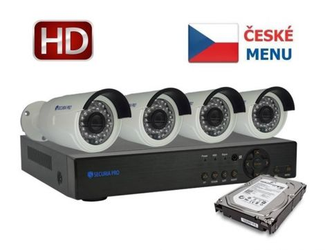 Camera set SECURIA PRO NVR4CHV2/1TB-W 1080P 4CH DVR + 4x IR CAM + 1TB HDD digital
