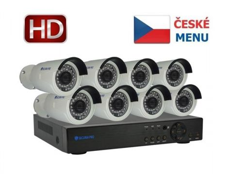 Camera set SECURIA PRO NVR8CHV2-W 1080P 8CH DVR + 8x IR CAM digital
