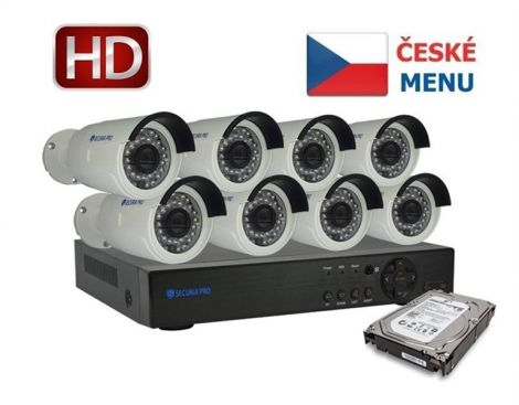 Camera set SECURIA PRO NVR8CHV2/1TB-W 1080P 8CH DVR + 8x IR CAM + 1TB HDD digital