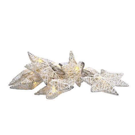 Christmas star chain white interwoven, 10LED, 1m, 2x AA