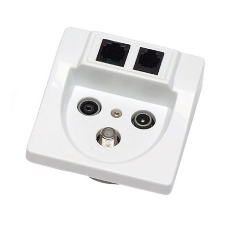 Satellite subscriber terminal outlet TV/R/SAT/RJ45/RJ11