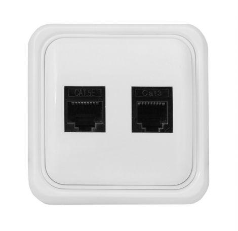 Socket 1x RJ11, 1x RJ45 universal