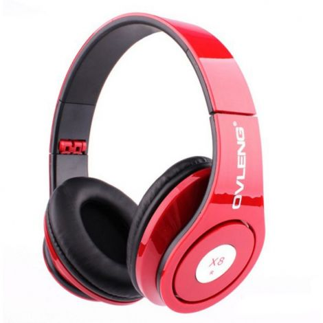 Ovleng X8 Headphones with Mic - Red (20270)