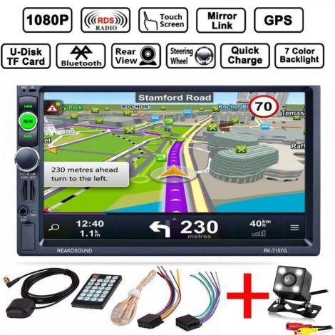"Double 2 DIN Car 7"" Player Stereo FM Radio GPS Sat Nav Bluetooth USB AUX Camera (RK-7157G)"