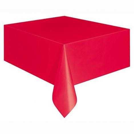 Κόκκινο πλαστικό τραπεζομάντιλο, 9ft x 4,5ft