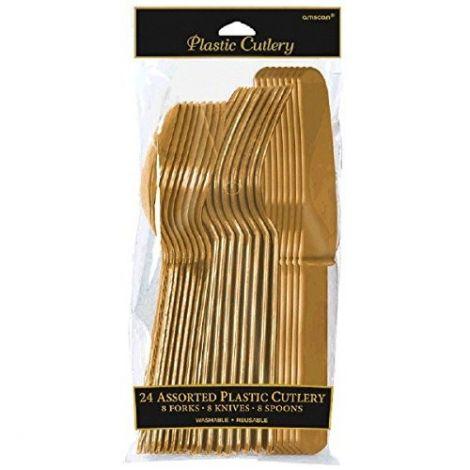 Amscan μαχαιροπίρουνα χρυσό, πακέτο 24 τεμ.