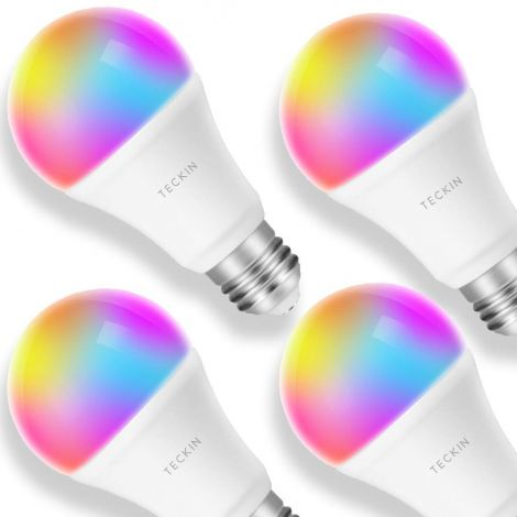 Smart LED Light Bulb TECKIN WALN Bulb (7.5 W, E27 + RGB) works with Alexa Google Home and IFTTT Remote Control, No Hub Required 4 Packs [Energy Class A+]