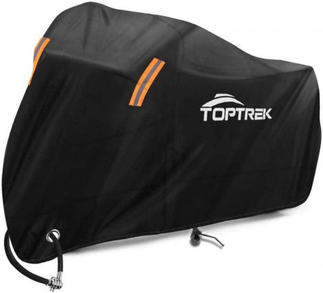 TOPTREK Motorcycle Cover Outdoor ,Waterproof (245 x 105 x 125 cm) XXL