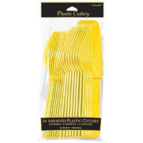 Amscan Κλασσικό Μαχαιροπίρουνο, κίτρινο Πακέτο 24 τεμ.