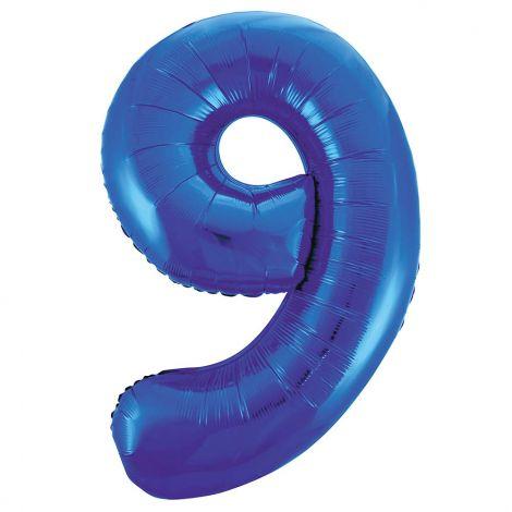 """Unique Party 55749 - 34"""" (86cm) Giant Blue Foil Number 9 Balloon"""