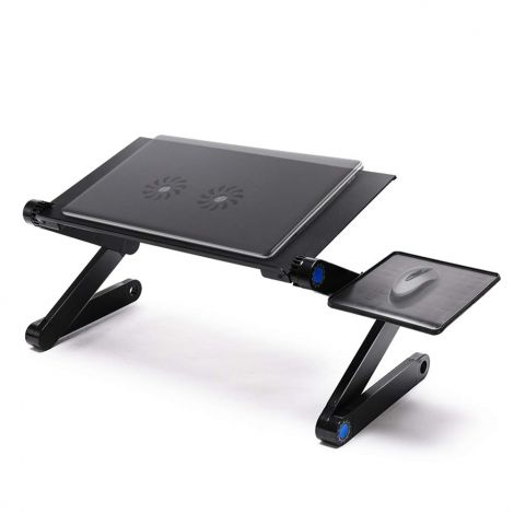 Adjustable Ergonomic Laptop Table Desk Stand with Mouse Board and Dual (2x) Cooling Cooler Fan - Black