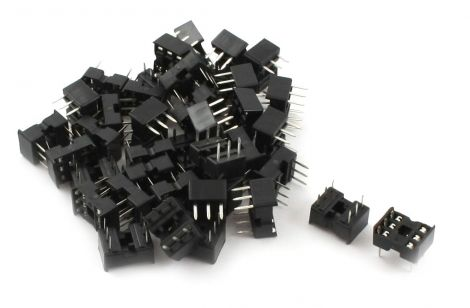 Sourcingmap 2.54 mm Pitch Wide 6 Pin DIP IC Socket Adapter - Black/Silver Tone (40-Piece)