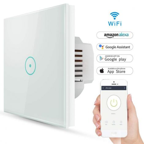 Smart Wireless WiFi Smart Lichtschalter Works with Alexa and Google Home Touch Switch with Timer and Circuit No Hub Required [Energy Class A++]