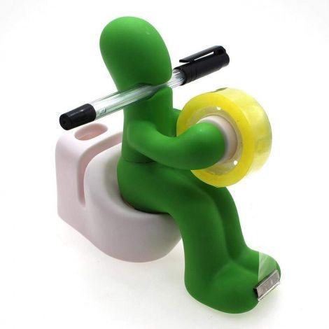 Butt Station - Tape Dispenser, Pen Notepad Holder with Paper Clips and Tape for Desktop Organiser (Green)