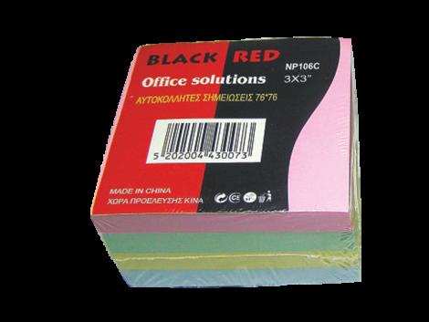 ΑΥΤΟΚΟΛΛΗΤΟΣ ΚΥΒΟΣ BLACK RED76Χ76 PAL ΧΡΩΜΑΤΑ (BR43007)