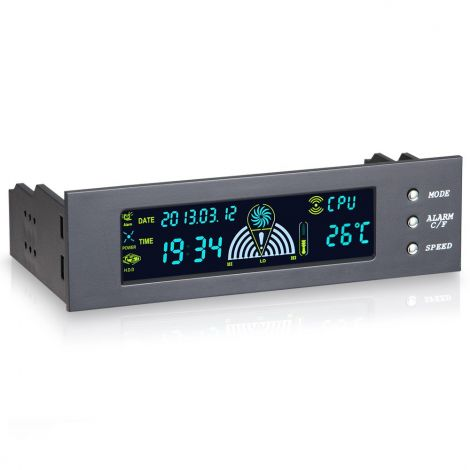 3 Channel Fan Speed Controller for PC Computer Temperature Controller Panel Date Time Temperature Display 5.25 inch Drive Bay