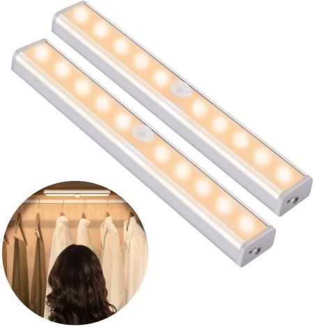 OUSFOT Motion Sensor Cabinet led Lights with 4 magnetic strips warm white (2pcs)