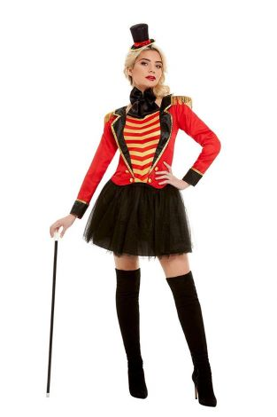 Smiffys Deluxe Ringmaster Lady Costume, Red,size L - (51049L)
