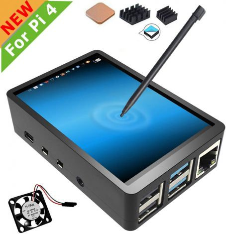 3.5 Inch Touchscreen with Case For Raspberry Pi 4 with Fan, 320x480 Monitor TFT LCD Game Display