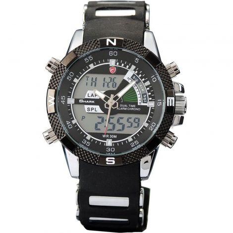 SHARK Μαύρο Ανδρικό Αθλητικό Ρολόι Με Διπλή Ένδειξη Ώρας (SH042)