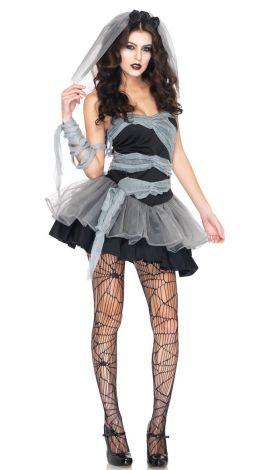 Sexy women corpse bride zombie costume, black one size (xs-m)