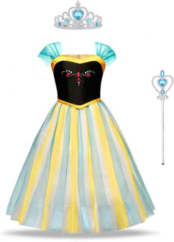 Frozen Anna costume with tiara and wand ,size 6-7/140cm