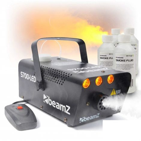 Beamz Smoke Machine with Flame Effect + 4x 250ml Fluids (S700-LED)