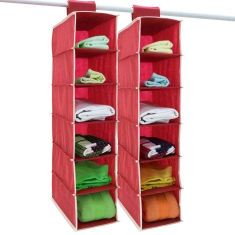 DEUBA 2 x Hang-up Storage 6 Compartments 80 cm x 15 cm x 30 cm Wardrobe Hanging Shelf Organiser System (Red)