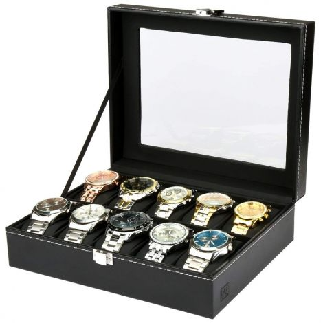 H & S® Glass Lid Jewellery Box with 10 Compartments with Box Case Bracelet Tray Faux Leather
