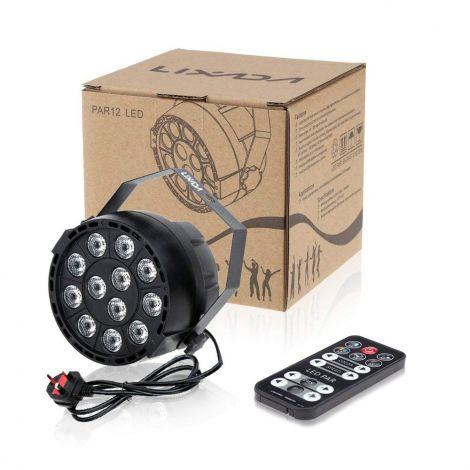 Lixada 15W 12LEDs RGBW Sound Activate DMX-512 LED Stage PAR Light Strobe Professional 8