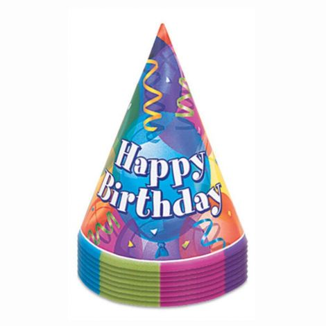 Unique Party 11351 - Brilliant Birthday Party Hats, Pack of 8